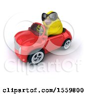 3d Yellow Bird Driving A Convertible On A White Background