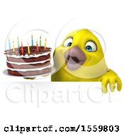 3d Yellow Bird Holding A Birthday Cake On A White Background