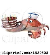 3d Sailor Crab Holding A Birthday Cake On A White Background
