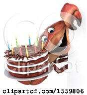 3d Crab Holding A Birthday Cake On A White Background