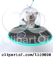 3d Polar Bear Flying A Ufo On A White Background