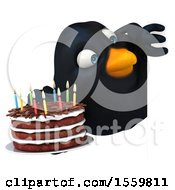 3d Black Bird Holding A Birthday Cake On A White Background