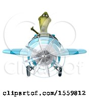 Poster, Art Print Of 3d Green Dinosaur Flying A Plane On A White Background
