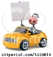 3d Cow Driving A Convertible On A White Background