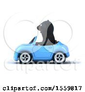 3d Black Bear Driving A Convertible On A White Background