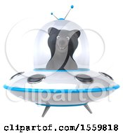 3d Black Bear Flying A Ufo On A White Background