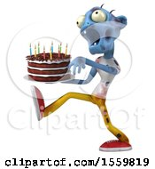 Clipart Of A 3d Blue Zombie Holding A Birthday Cake On A White Background Royalty Free Illustration by Julos