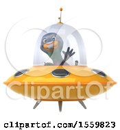 3d Pigeon Flying A Ufo On A White Background