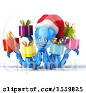 3d Blue Christmas Octopus Holding Gifts On A White Background