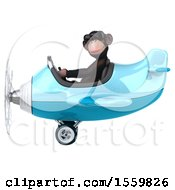 Clipart Of A 3d Chimpanzee Monkey Aviator Pilot Flying An Airplane On A White Background Royalty Free Illustration