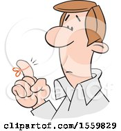 Clipart Of A Cartoon White Man Wearing A Reminder String On His Finger Royalty Free Vector Illustration