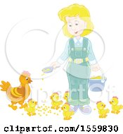 Blond Caucasian Female Farmer Feeding Chickens