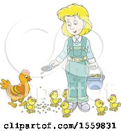 Blond White Female Farmer Feeding Chickens