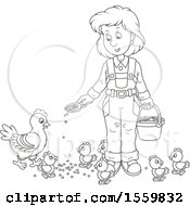 Clipart Of A Lineart Female Farmer Feeding Chickens Royalty Free Vector Illustration
