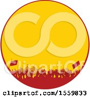 Poster, Art Print Of Silhouetted Crowd At A Music Festival In A Red And Yellow Circle