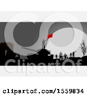 Poster, Art Print Of Silhouetted Group Of Soldiers And Tank On A Battle Field Against A Full Moon With White Panels