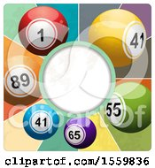 Clipart Of A Round Frame With Vintage Lottery Balls Royalty Free Vector Illustration