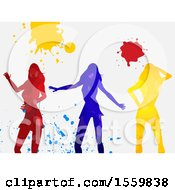Group Of Silhouetted Women Dancing With Paint Splatters On A Shaded White Background