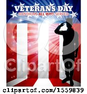 Clipart Of A Silhouetted Full Length Male Military Veteran Saluting Over An American Flag And Text Royalty Free Vector Illustration