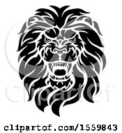 Clipart Of A Black And White Roaring Male Lion Head Royalty Free Vector Illustration by AtStockIllustration