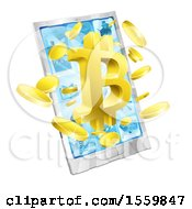 Clipart Of A 3d Gold Bitcoin Currency Symbol Bursting From A Cell Phone Screen Royalty Free Vector Illustration by AtStockIllustration