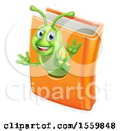 Clipart Of A Happy Green Worm Emerging From A Book Royalty Free Vector Illustration by AtStockIllustration