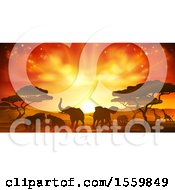 Clipart Of A Safari Scene Of Silhouetted African Animals Giraffes Rhinos Elephants And Lions Under Acacia Trees At Sunset Royalty Free Vector Illustration by AtStockIllustration