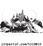 Clipart Of A Mountain And Two Sleeping Giants Royalty Free Vector Illustration