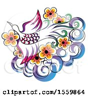 Clipart Of A Stunning Phoenix Flying Over Flowers And A Cloud Royalty Free Vector Illustration