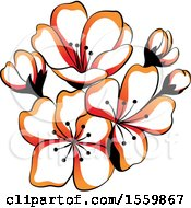 Clipart Of Beautiful Asian Styled Flowers Royalty Free Vector Illustration