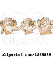 Clipart Of Hear No Evil See No Evil Speak No Evil Monkeys Royalty Free Vector Illustration by Johnny Sajem