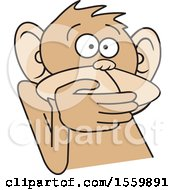 Clipart Of A Speak No Evil Monkey Royalty Free Vector Illustration by Johnny Sajem