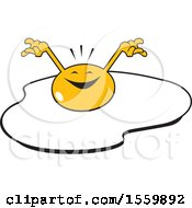 Clipart Of A Happy And Cheerful Sunny Side Up Egg Royalty Free Vector Illustration