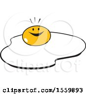 Clipart Of A Happy Sunny Side Up Egg Royalty Free Vector Illustration