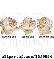 Clipart Of Hear No Evil See No Evil Speak No Evil Monkeys With Text Royalty Free Vector Illustration by Johnny Sajem