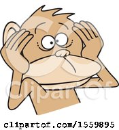 Clipart Of A Hear No Evil Monkey Royalty Free Vector Illustration