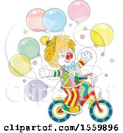 Clipart Of A Cute Clown Riding A Bicycle With Party Balloons Royalty Free Vector Illustration by Alex Bannykh