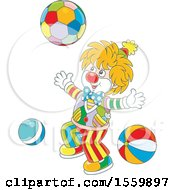 Clipart Of A Cute Clown Playing With A Ball Royalty Free Vector Illustration