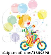 Party Clown Riding A Bicycle With Balloons