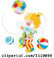 Happy Clown Playing With A Ball