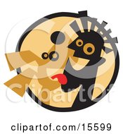 Happy Dog Licking A Mans Face Clipart Illustration