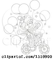 Cute Lineart Clown Riding A Bicycle With Party Balloons