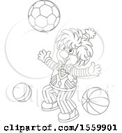 Lineart Clown Playing With A Ball