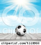 3d Soccer Ball On A Wood Surface Against A Sunny Sky