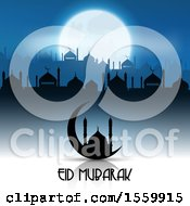 Clipart Of An Eid Mubarak Background With A Crescent Moon And Mosque Royalty Free Vector Illustration by KJ Pargeter