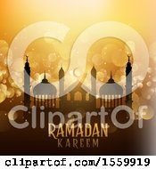 Clipart Of A Ramadan Kareem Background With A Mosque Royalty Free Vector Illustration by KJ Pargeter