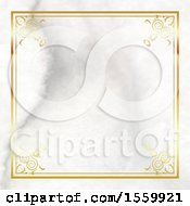 Poster, Art Print Of Marble Texture Background And Gold Frame