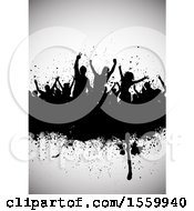 Clipart Of A Silhouetted Dancing Crowd On A Grunge Banner Over Gray Royalty Free Vector Illustration