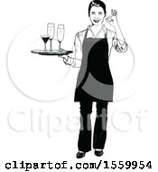 Grayscale Waitress Holding A Tray With Wine And Champagne