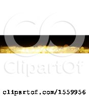 Clipart Of A Black And Gold Bokeh Flare Banner Royalty Free Vector Illustration by dero